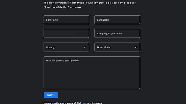 グーグルアーススタジオを使うために登録するシーン